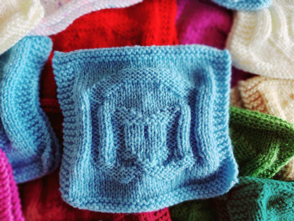 Bonding squares for Millie's knit